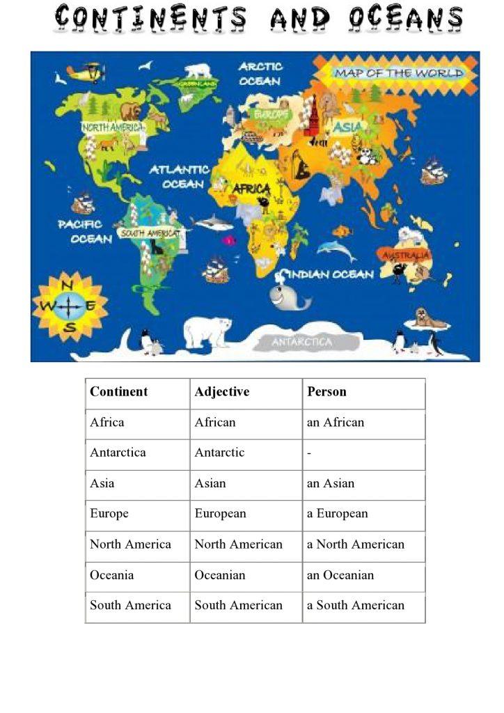 Kontinenti na engleskom